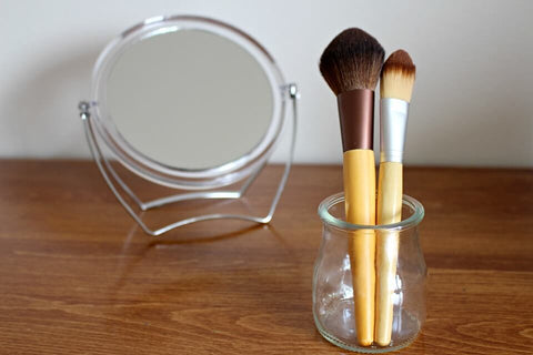 mirror and make up brush