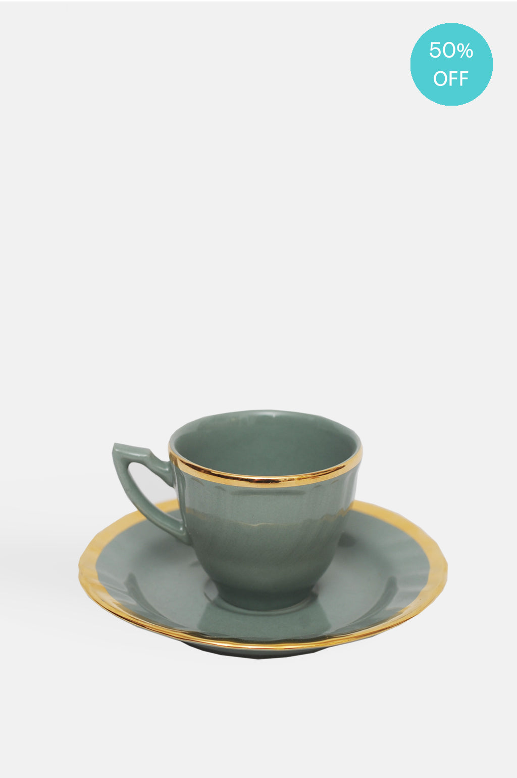 Gold Rim Coffee Cup with Saucer Sage