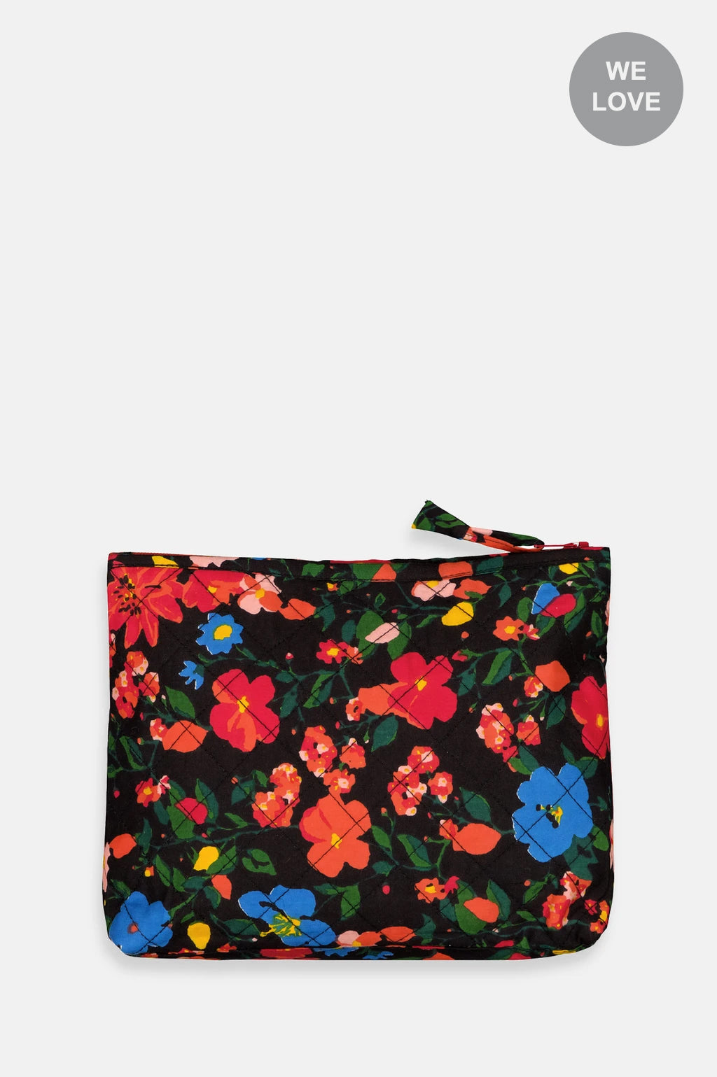 Grey Flowers Toilet Pouch