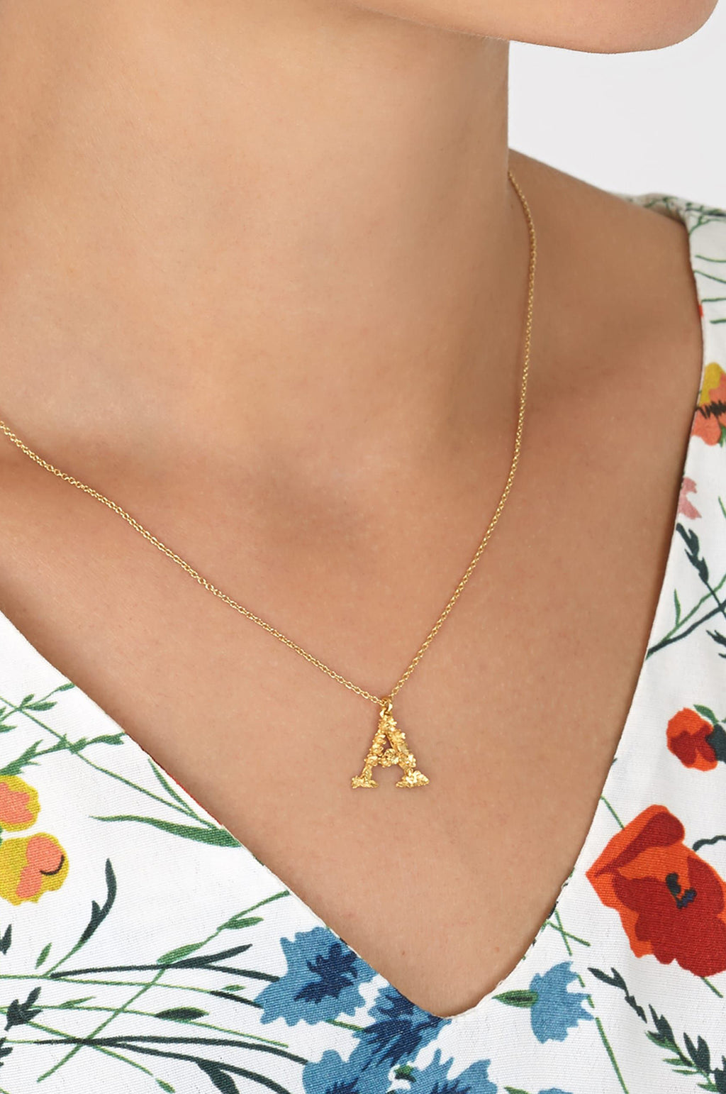 Floral Letter A Necklace Gold Plate