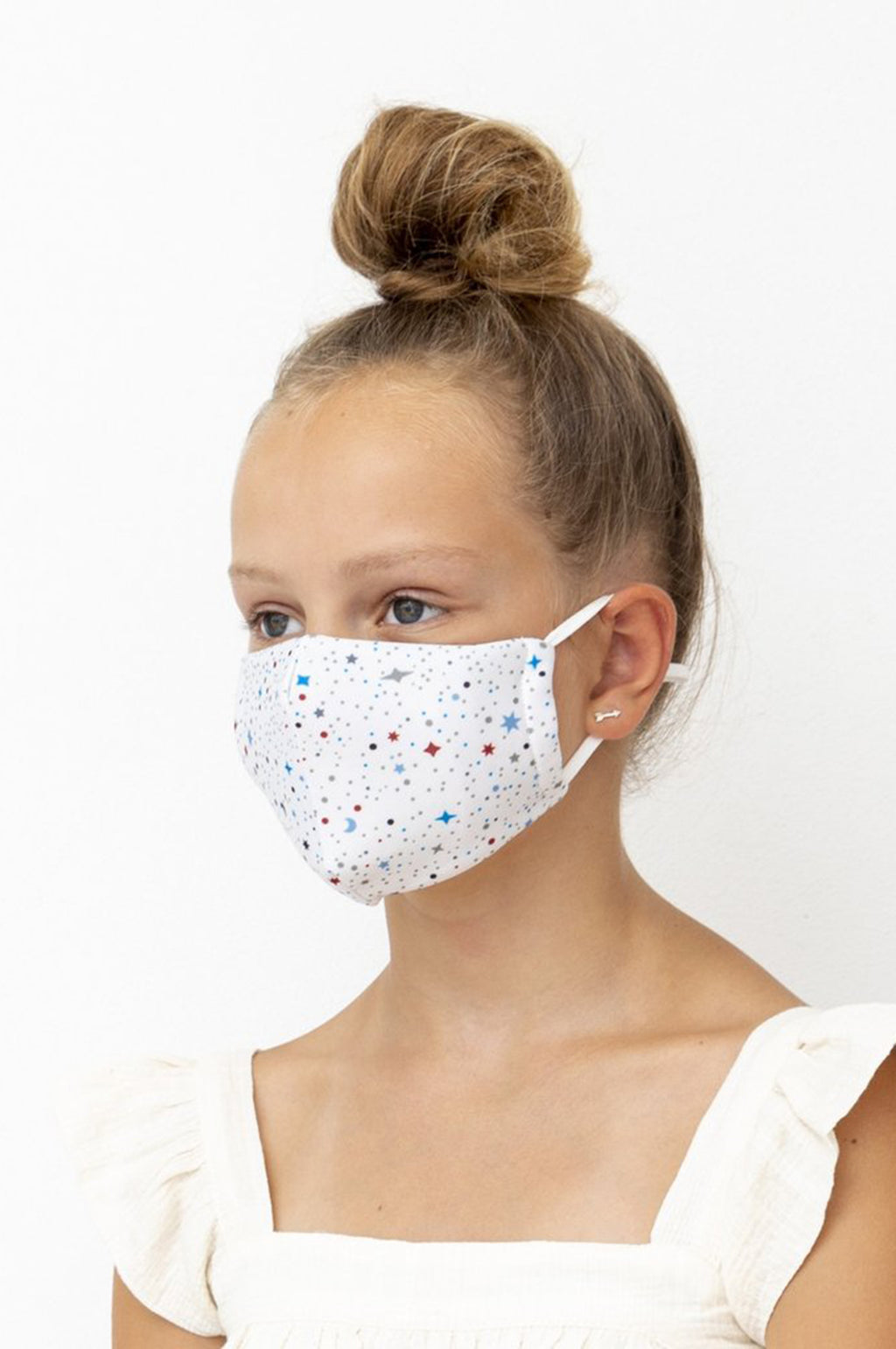 Adult Winter Sky Print Face Mask in White