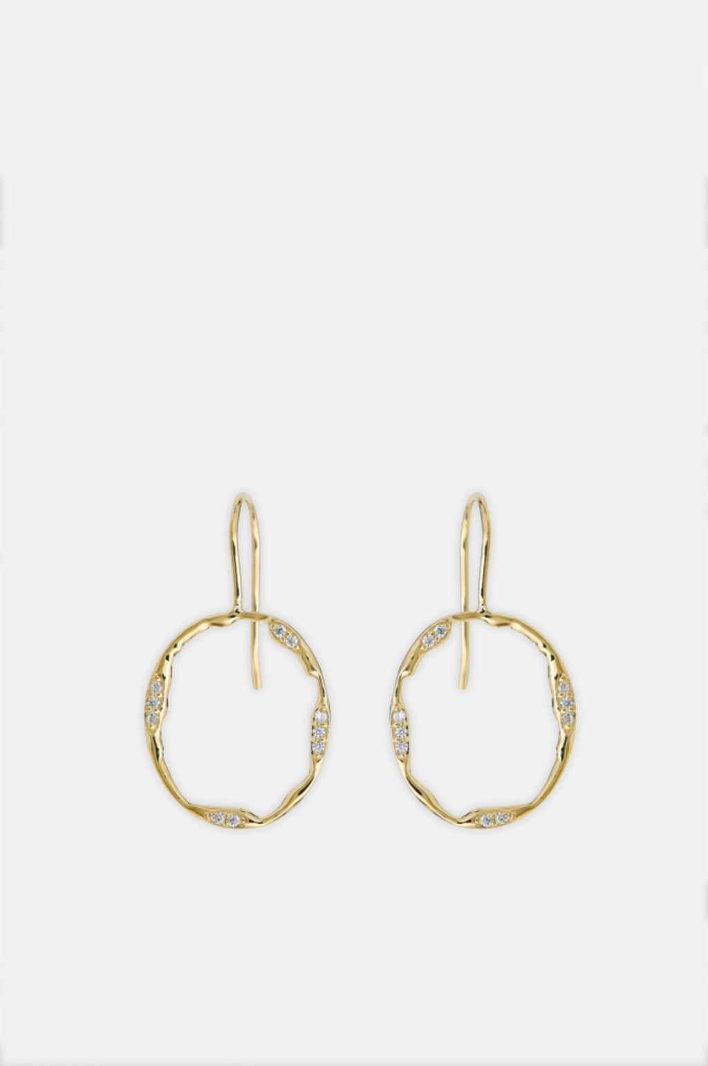 Anya Sparkle Circle Gold Hook Earrings