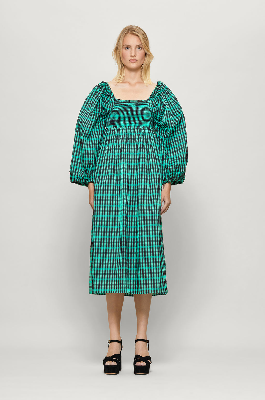 Aquina Dress Gumdrop Green Check
