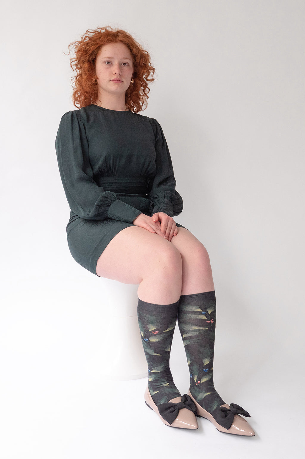 Feuille High Socks in Faux Noir