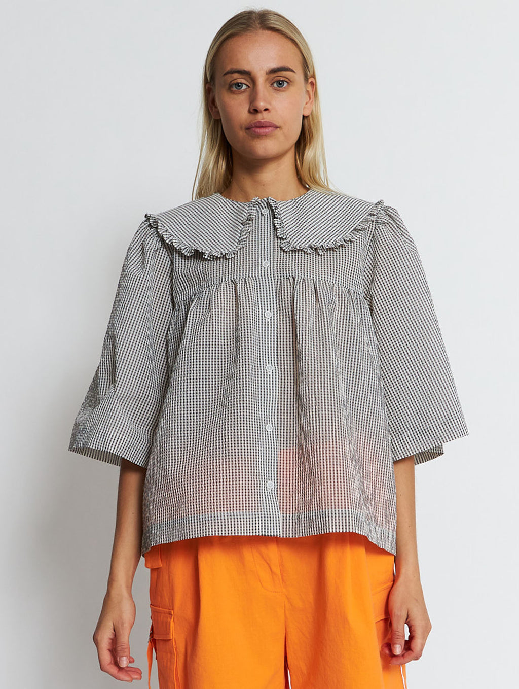 Safa Blouse Grey Checks