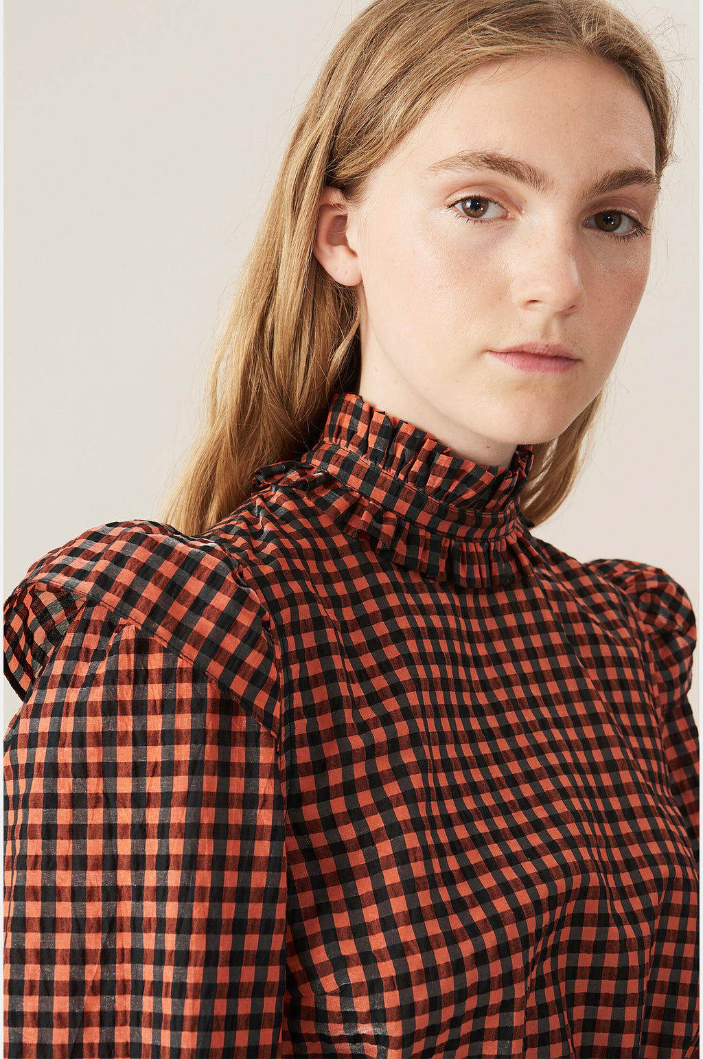 Check Cropped Blouse Flame