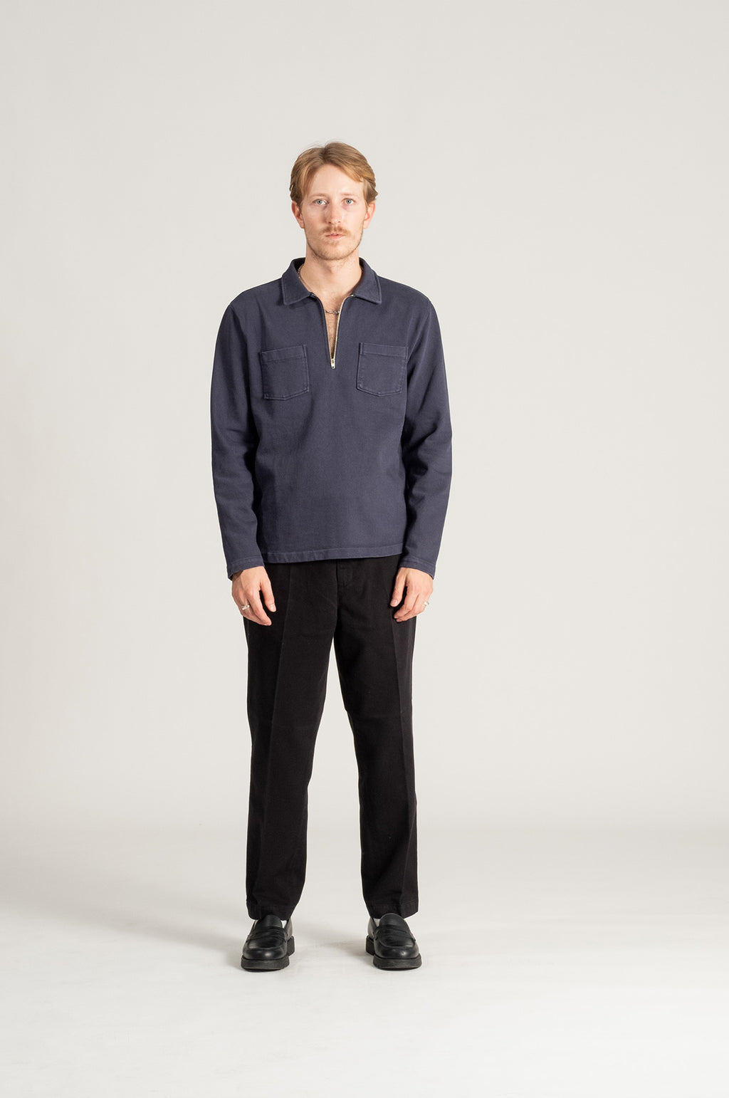 Compact Zip Shirt Navy