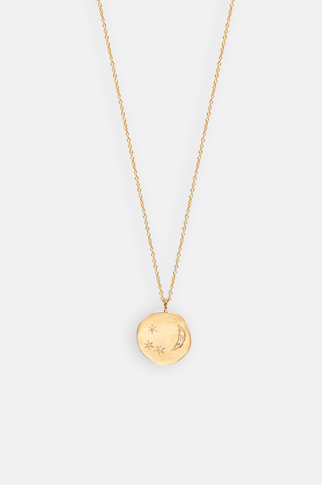 Divine Hours Small Sparkle Moon & Stars Gold Necklace