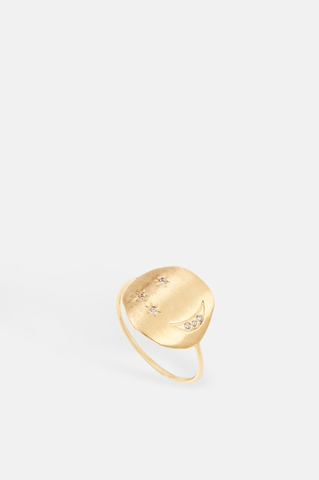 Divine Hours Sparkle Moon & Stars Gold Ring