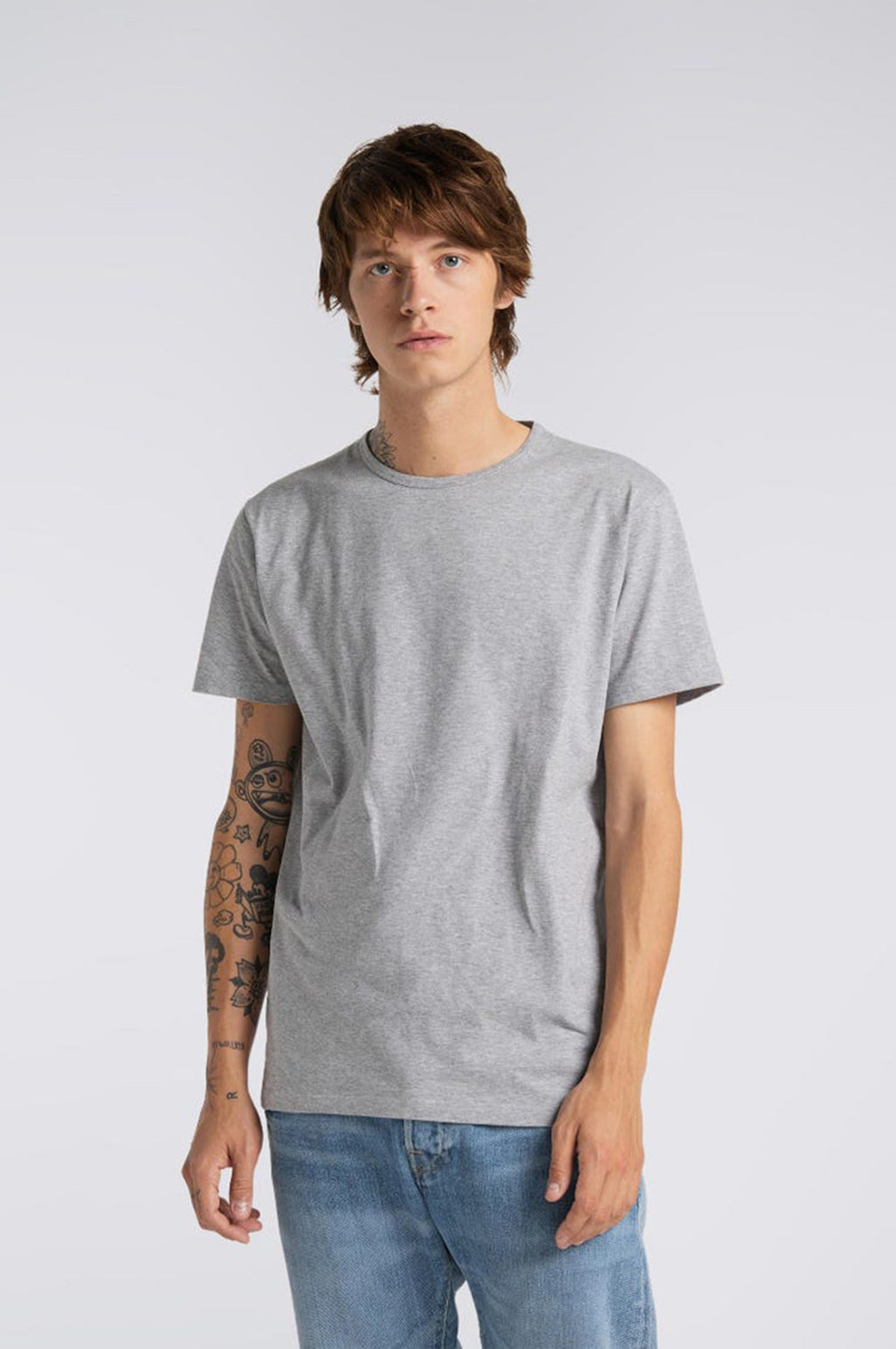 Double Pack Short Sleeve T Shirt in Grey Marl