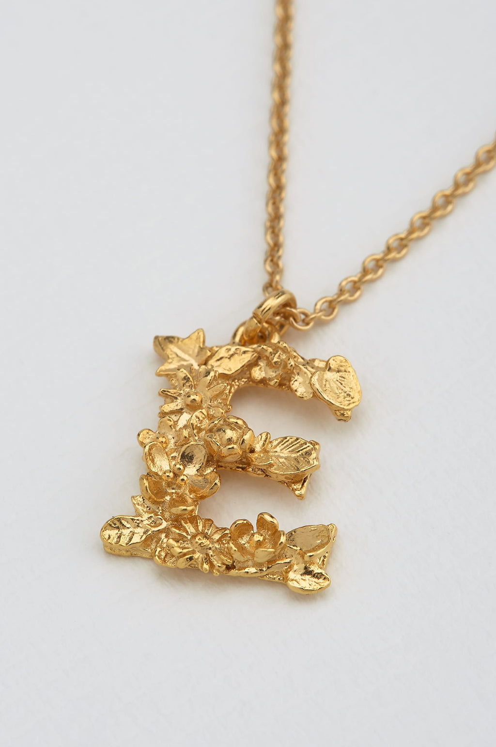 Floral Letter E Necklace Gold Plate