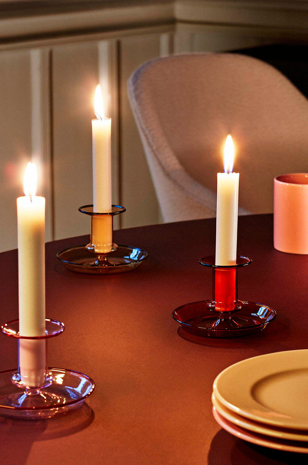 Flare Candle Holder in Amber