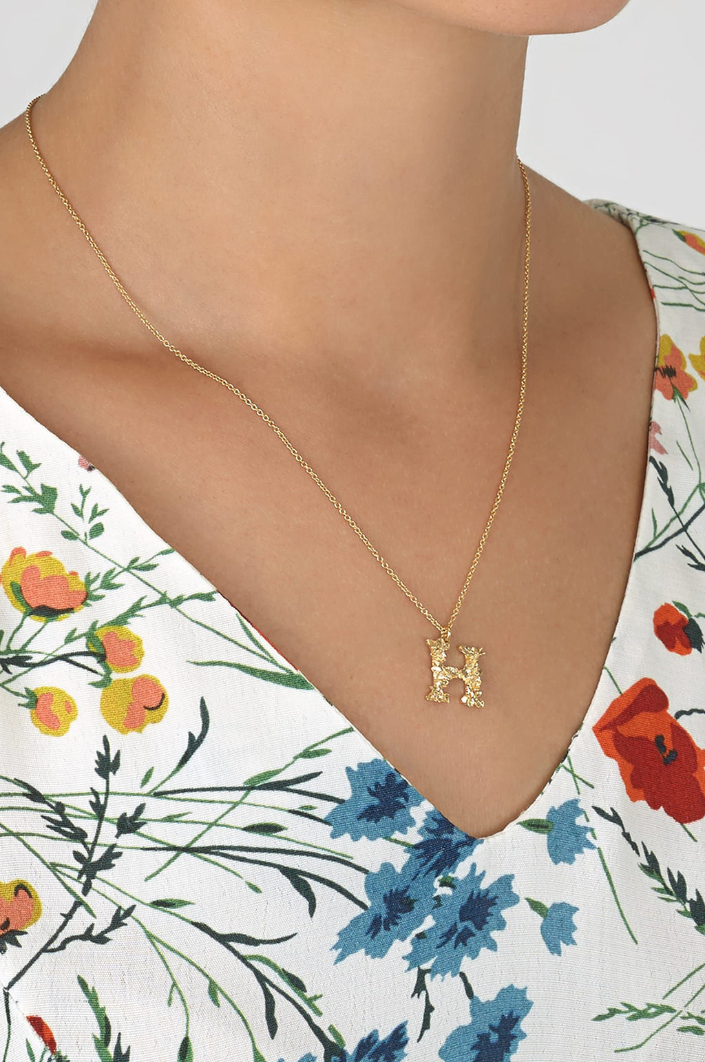 Floral Letter H Necklace Gold Plate