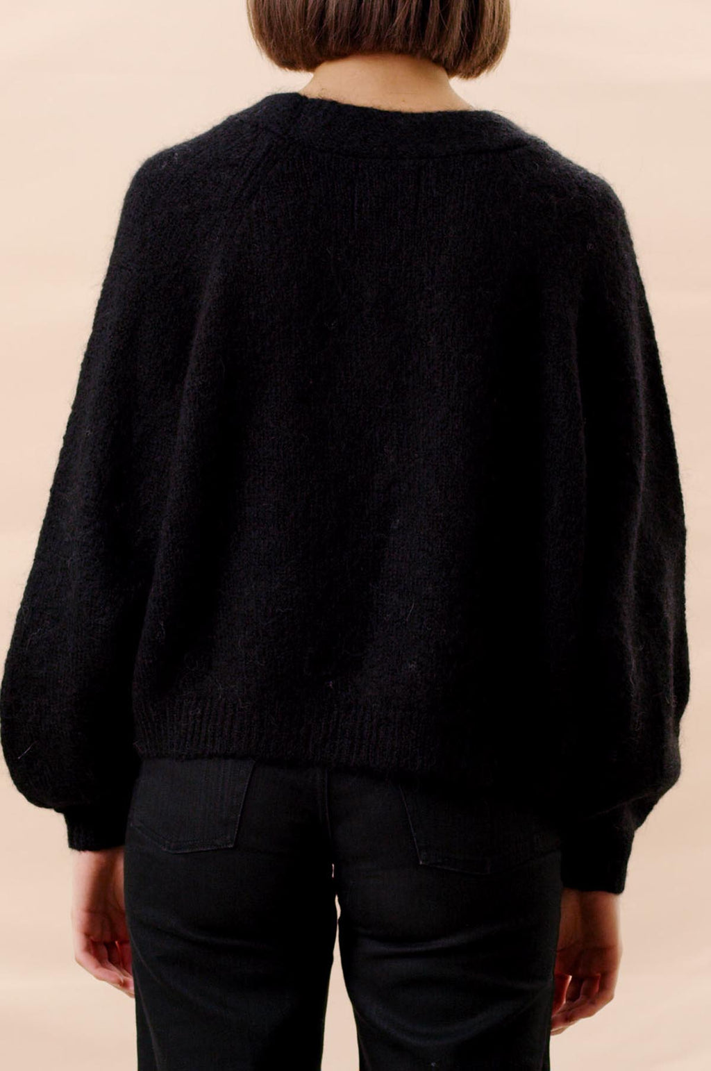 Hairy Knit Cardigan in Black