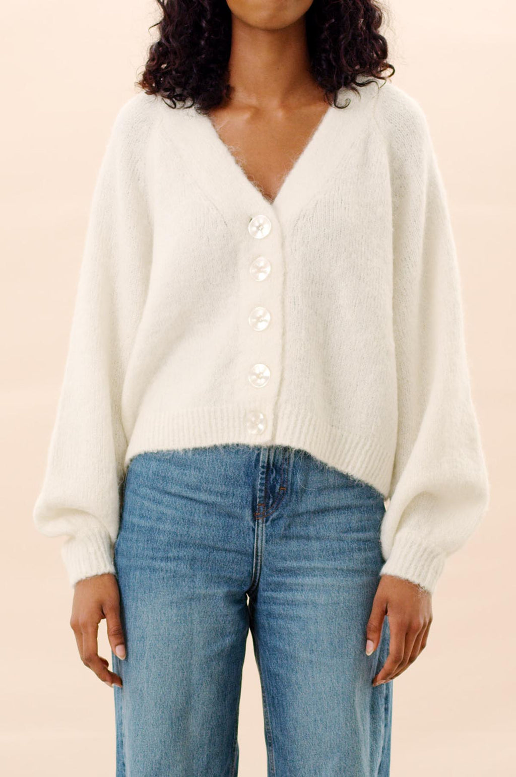 Hairy Knit Cardigan in Off White