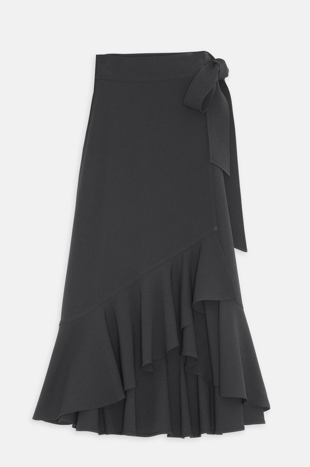 Heavy Crepe Wrap Skirt in Black