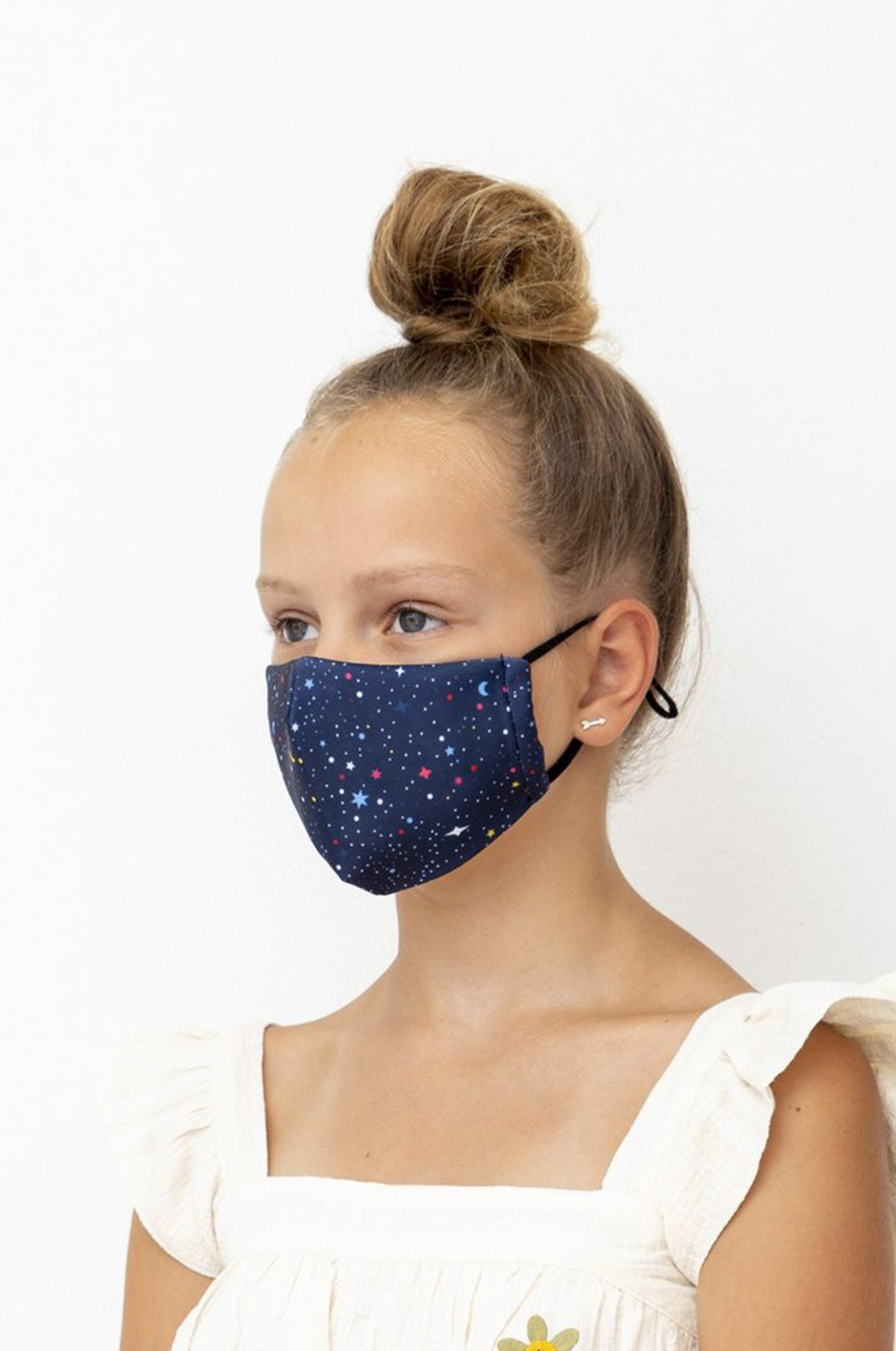 Kids Night Sky Print Face Mask in Navy