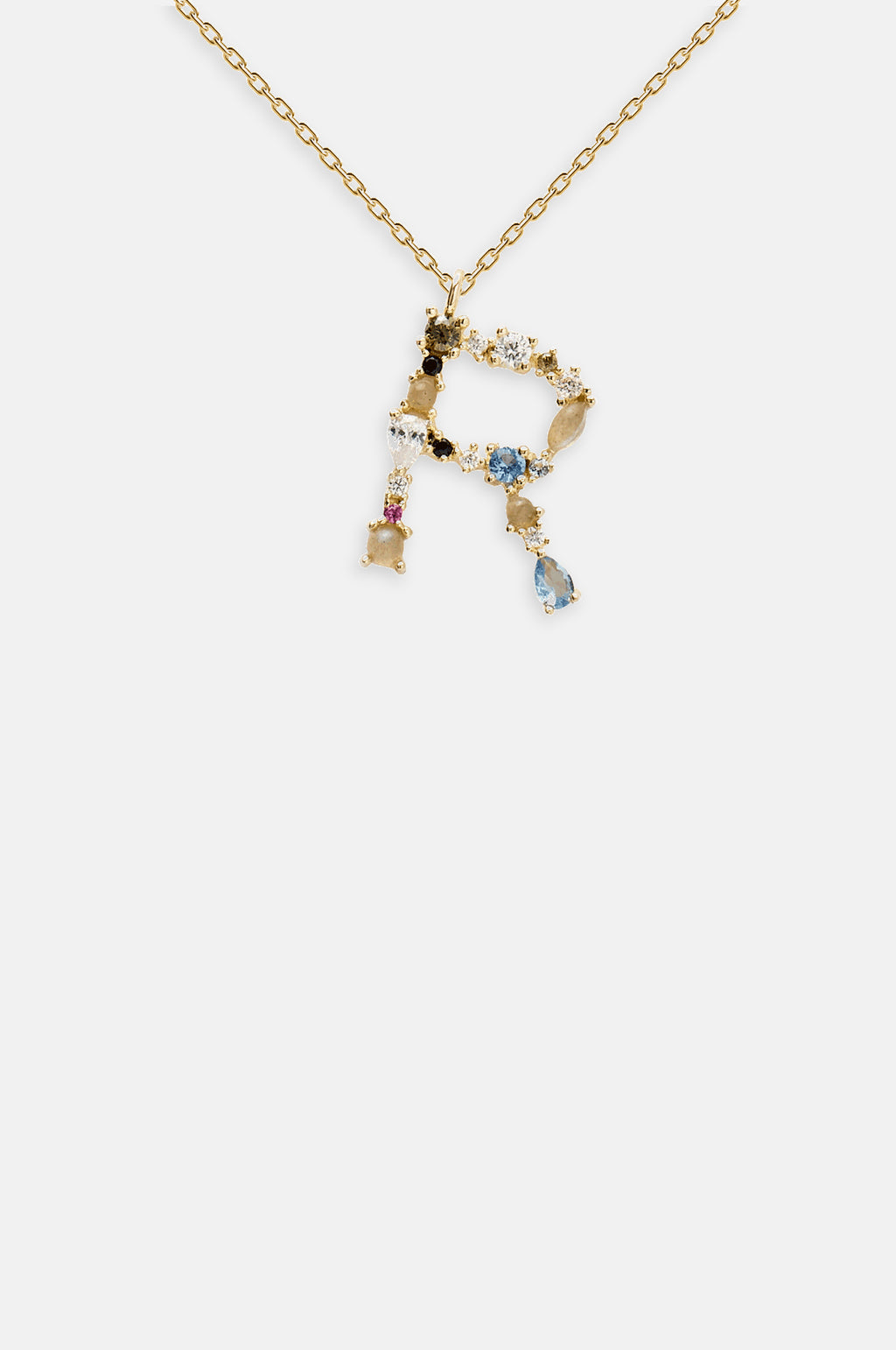 Letter R Gold Necklace