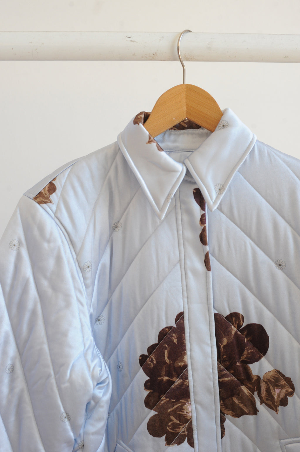Heavy Satin Quilted Jacket in Heather