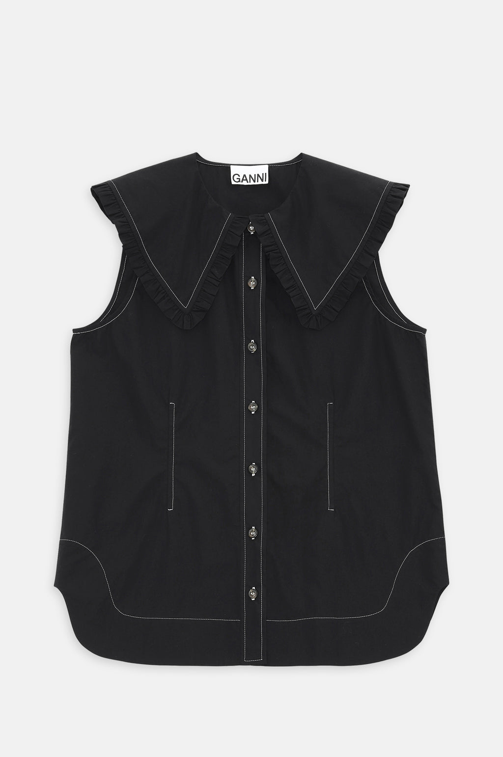 Poplin Sleeveless Shirt in Black