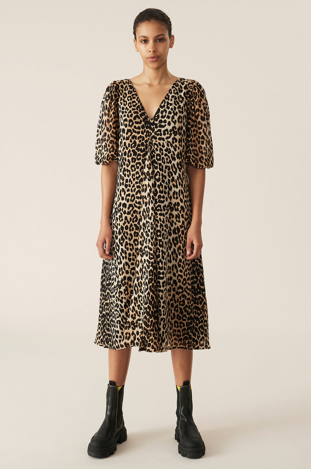 Puff Sleeve Dress in Leopard