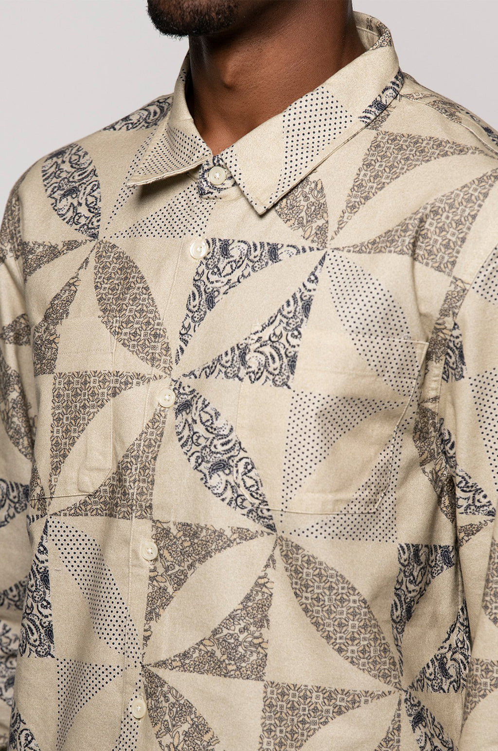 Quilt Pattern Shirt in Sand