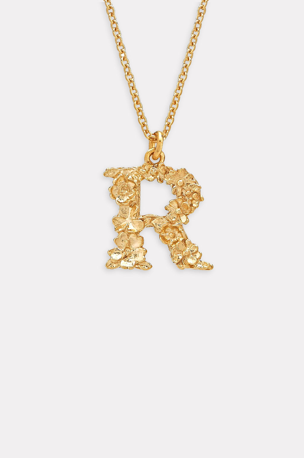 Floral Letter R Necklace Gold Plate