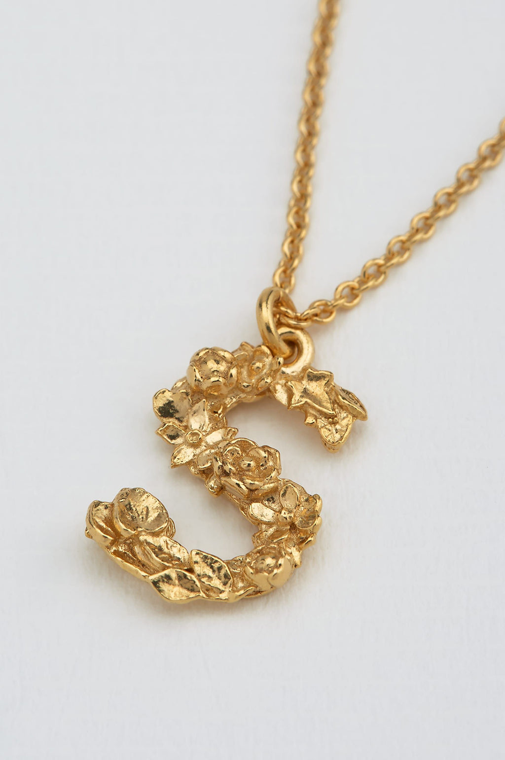 Floral Letter S Necklace Gold Plate