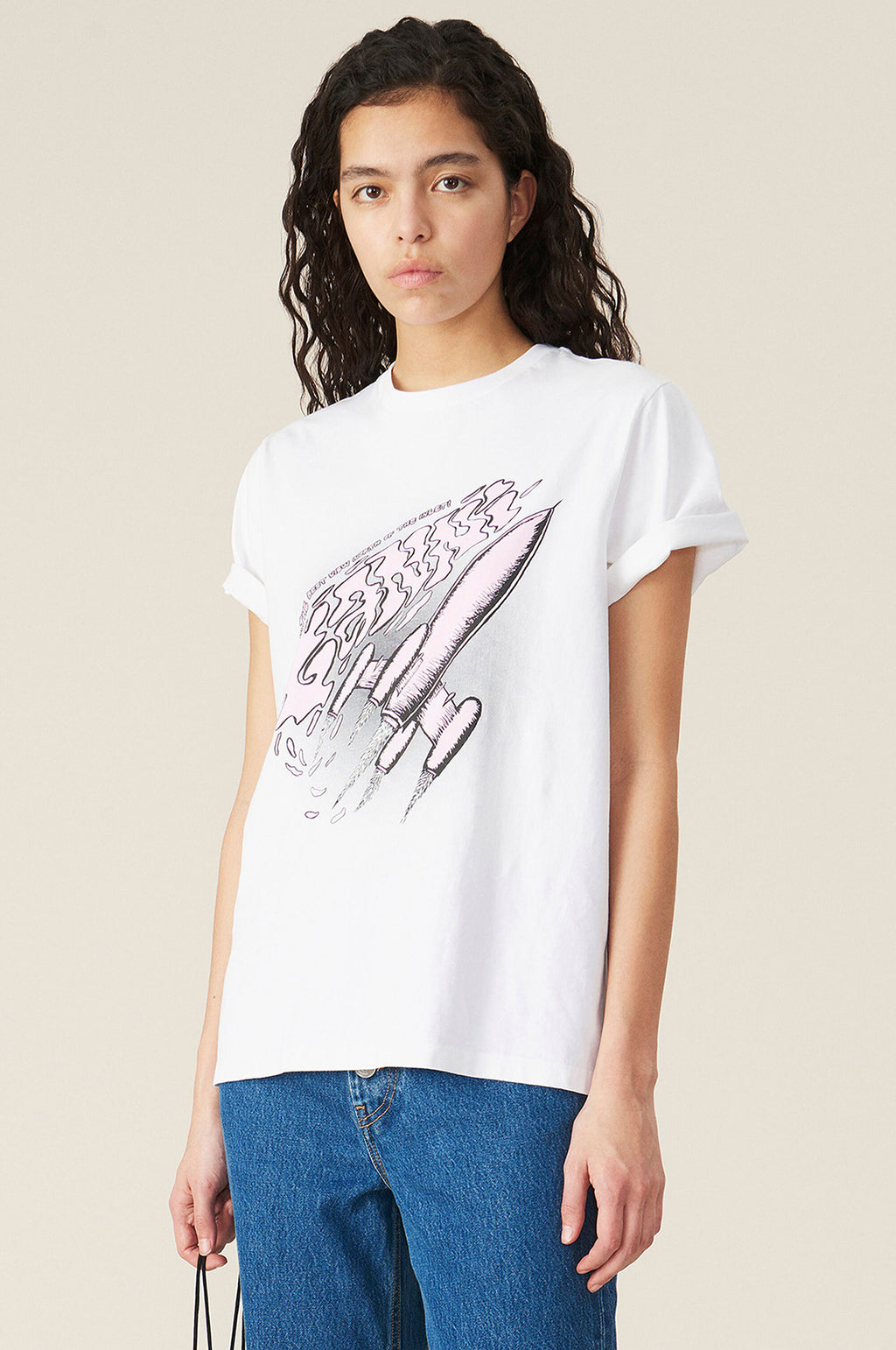 Space Rocket T Shirt in Bright White