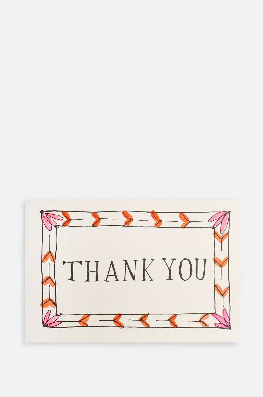 Thank You Border Card in Pink and Orange