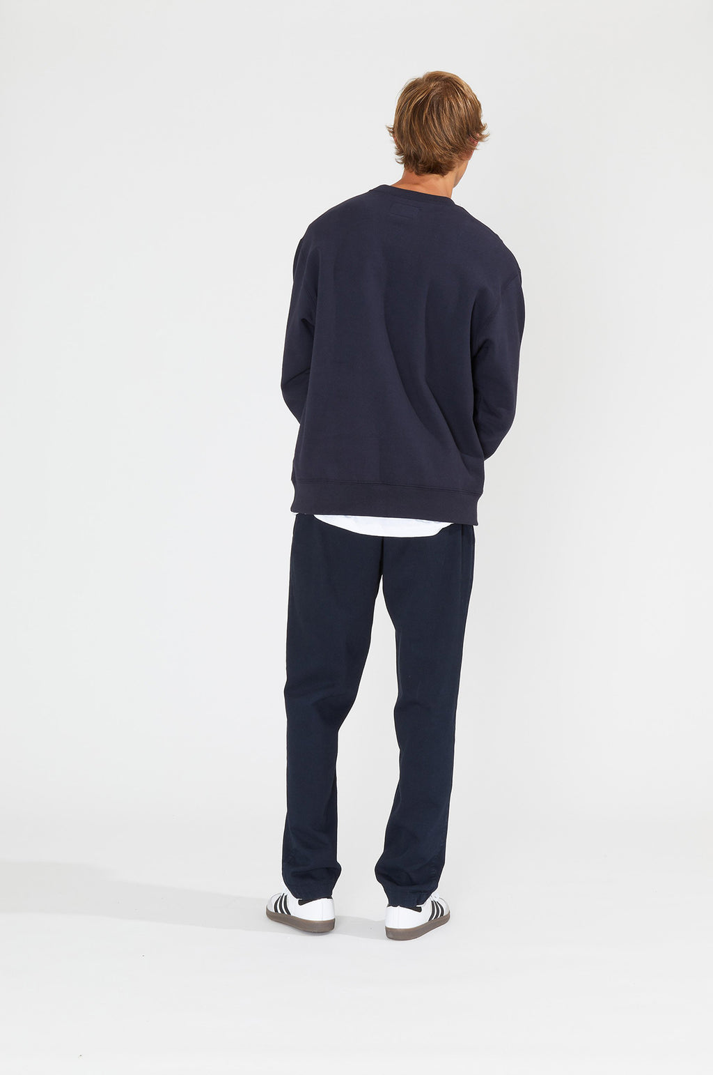 Twill Bank Pant in Dark Navy