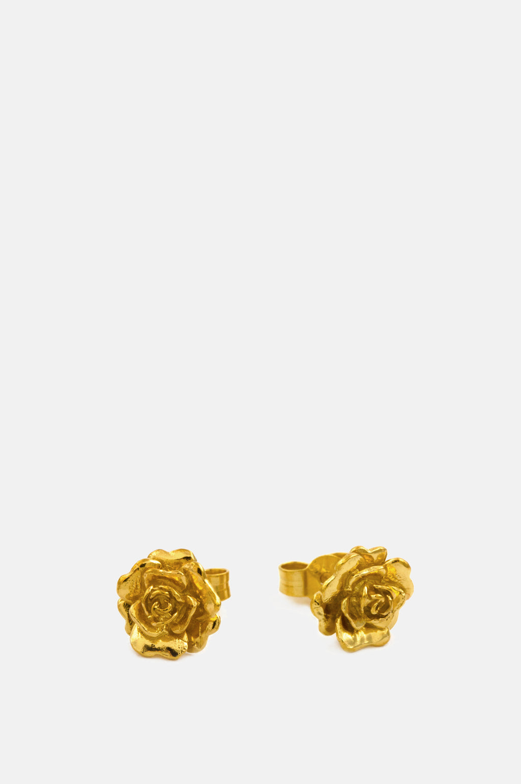 Rosa Damasca Stud Earrings Gold Plate