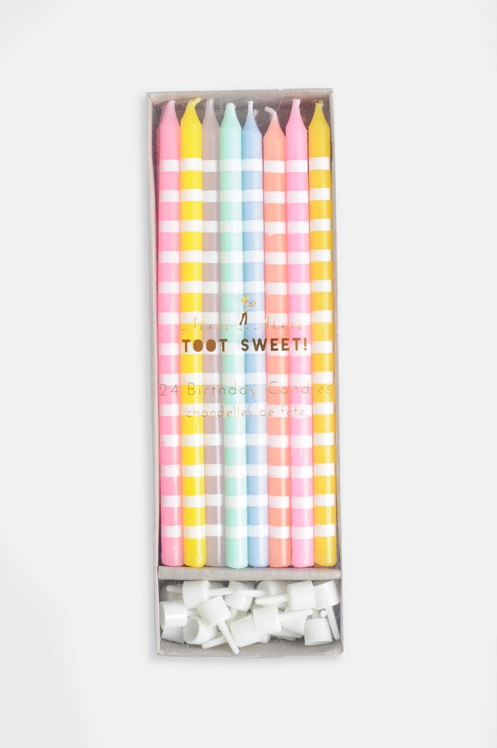 Pastel Stripes Birthday Candles 1 2