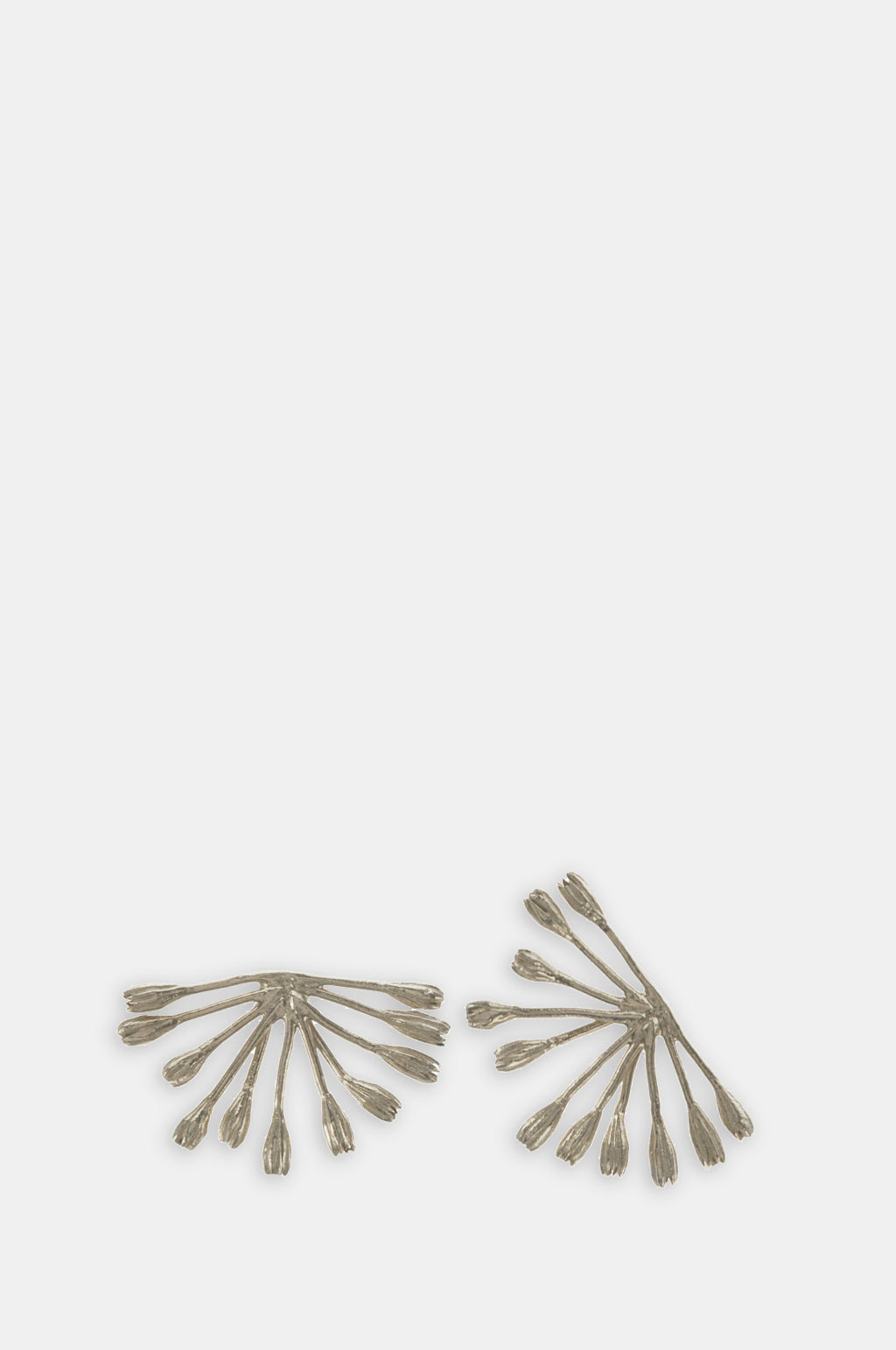 Fanned Seed Pod Stud Earrings Silver