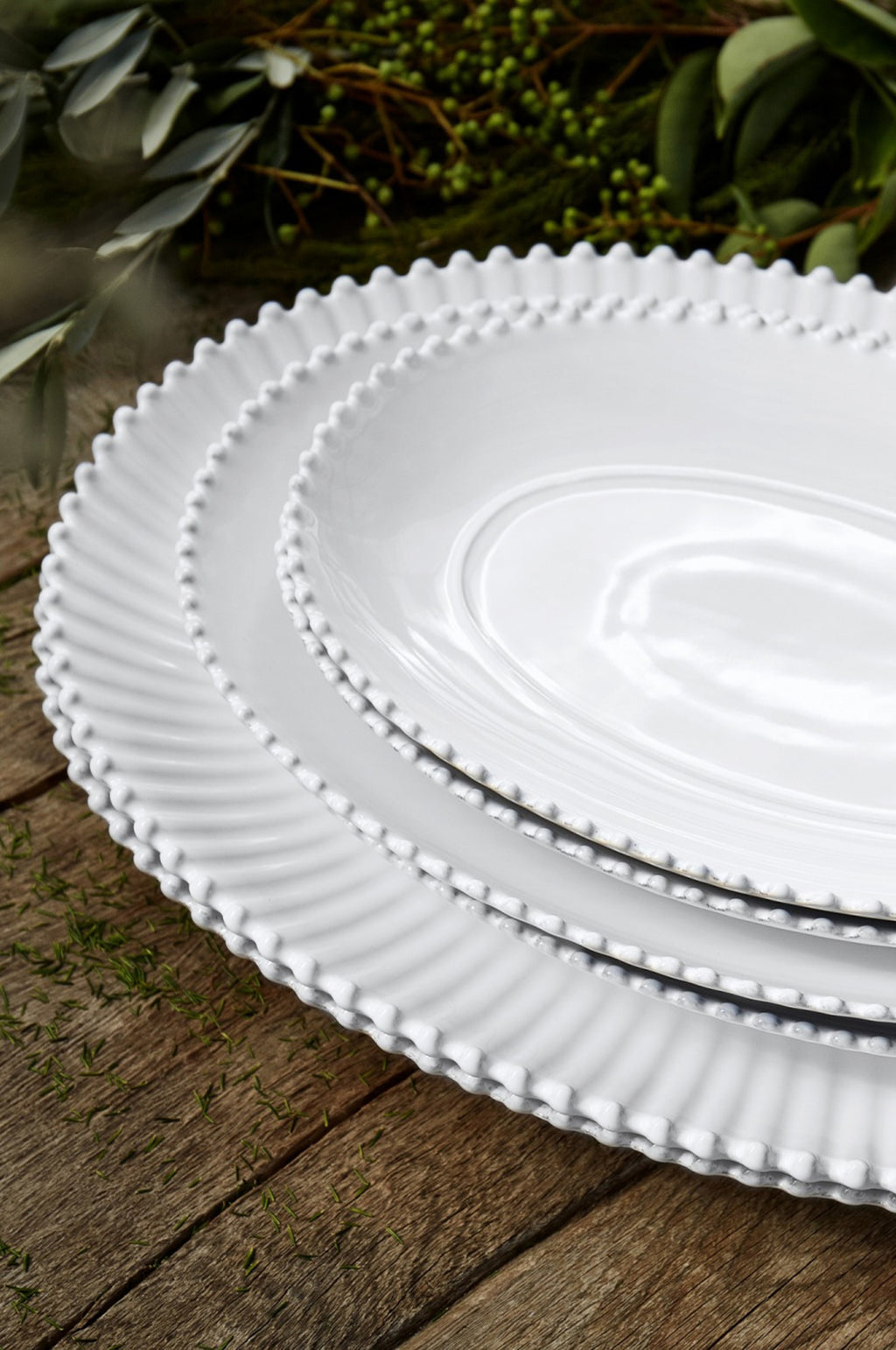 Pearl White Oval Platter Medium