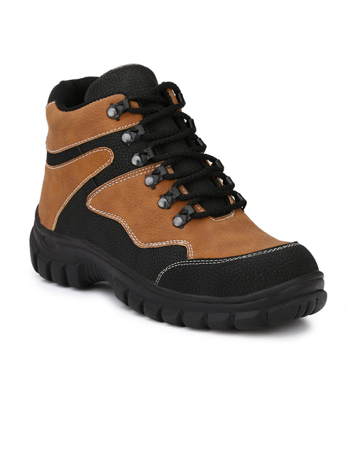 Eego Italy Brown Synthetic Leather Men's Steel Toe Boots