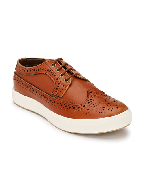 Eego Italy Tan Casual Lace Up Brougue Sneakers