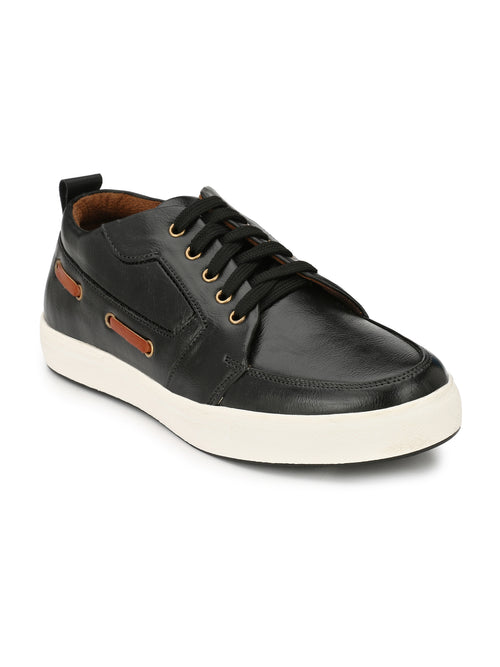 Eego Italy Black Casual Lace Up Boat Shoes