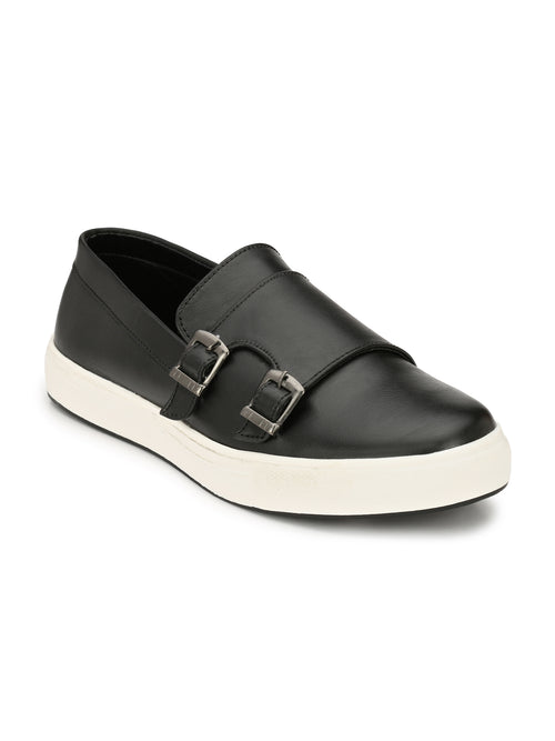 Eego Italy Black Casual Double Monk Strap Sneakers