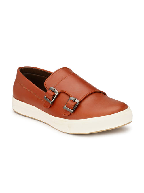 Eego Italy Tan Casual Double Monk Strap Sneakers