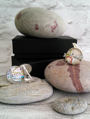 Signpost Original Gifts - Cufflinks personalised with map of your choice