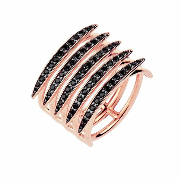 Rose Gold Vermeil and Black Spinel Quill Ring