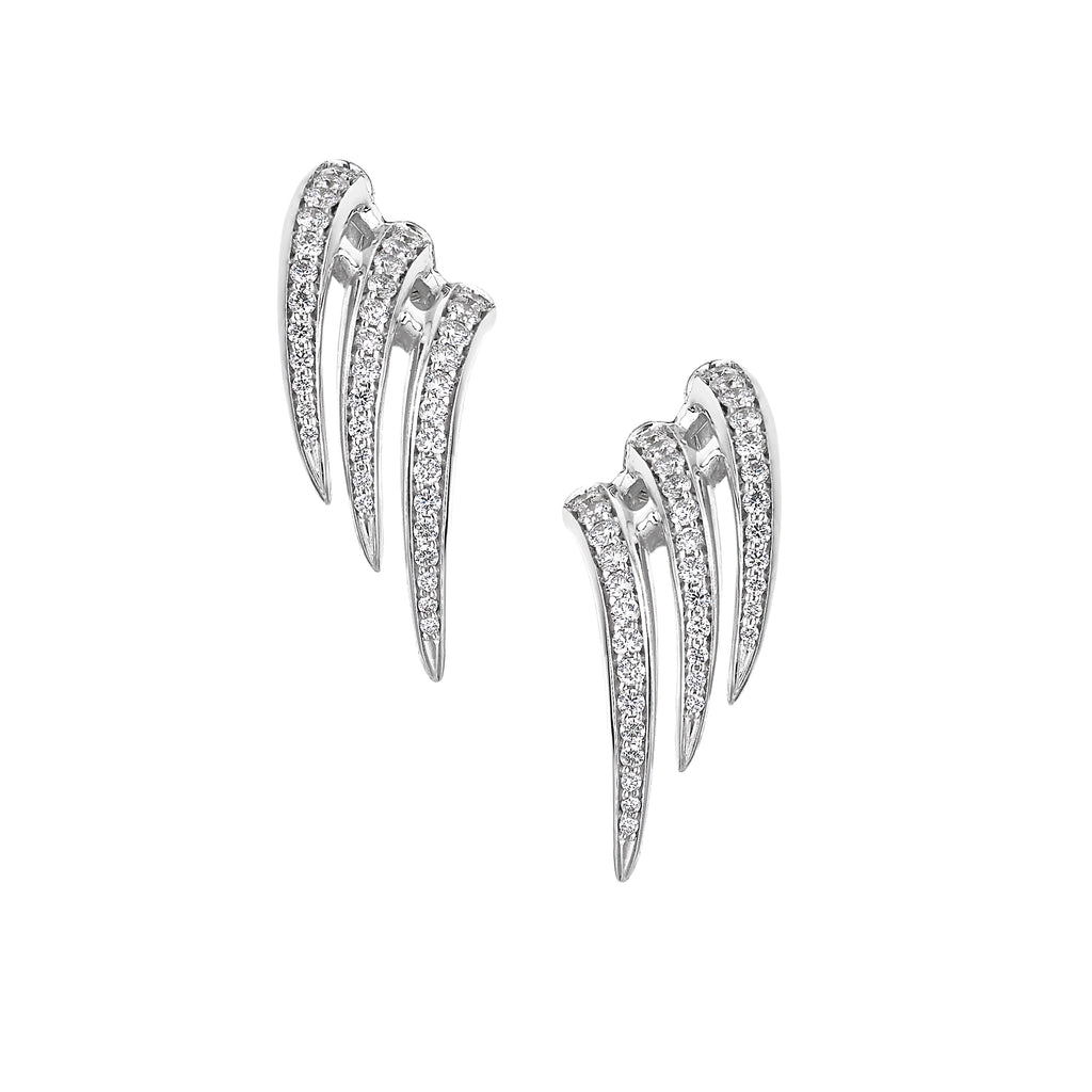 18ct White Gold Armis Triple Diamond Stud Earrings