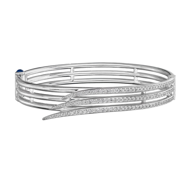 18ct White Gold Diamond Triple Row Pave Armis Bangle