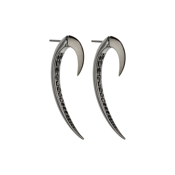 Silver Black Rhodium Hook Black Spinel Earrings