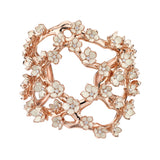 Rose Gold Vermeil Cherry Blossom Diamond Multi Flower Cuff