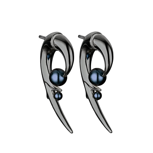 Hooked Black Pearl Black Rhodium Earrings
