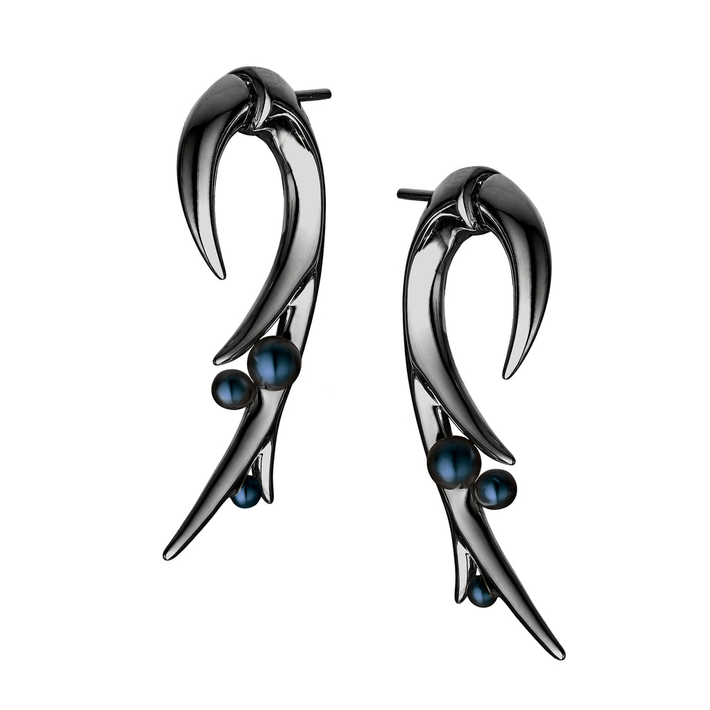 Hooked Black Pearl Large Black Rhodium Earrings