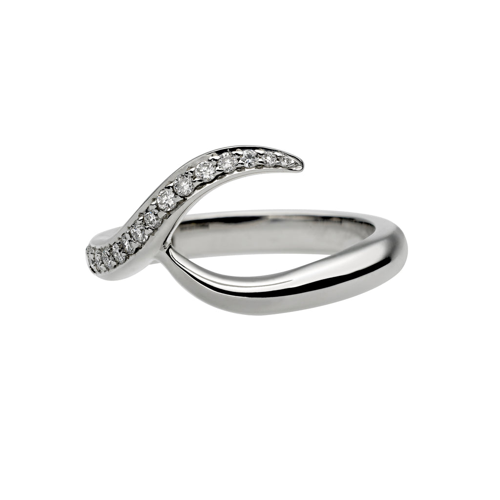 Platinum and Diamond Pave Inward Entwined Wedding Ring