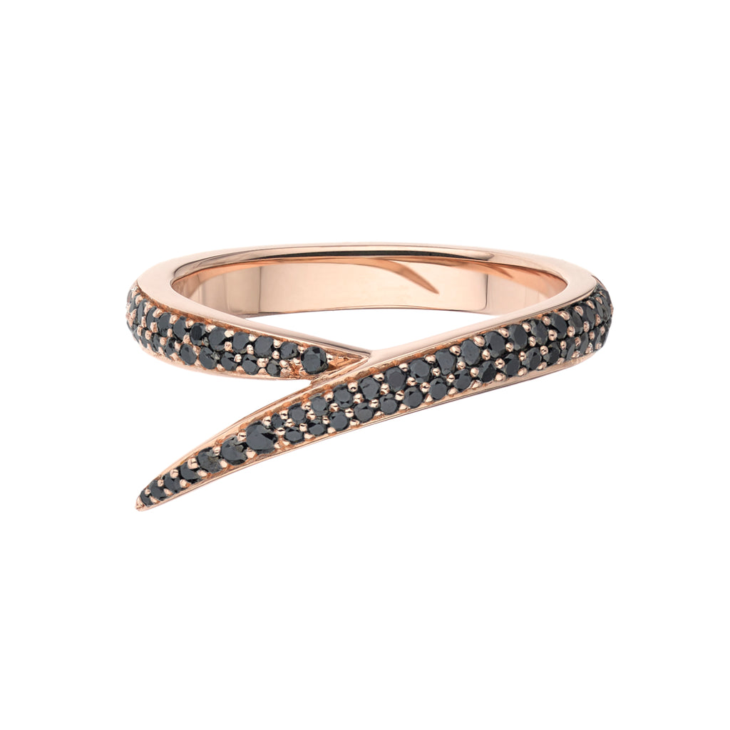 18ct Rose Gold and Black Diamond Single Interlocking Ring